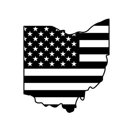 ohio oh state shape with USA united states of america flag black and white vector