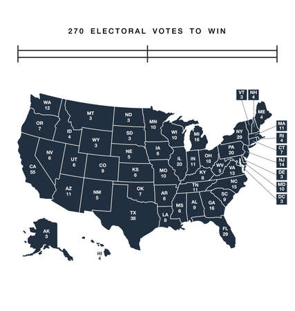 accurate correct usa editable electorial college map with separated states vector
