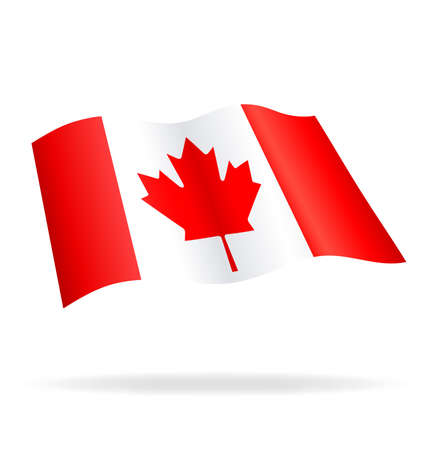 Flying Canadian Flag of Canada Vector Image