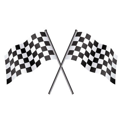 twin double chequered checkered racing flags on flagpoles flying vector Vettoriali