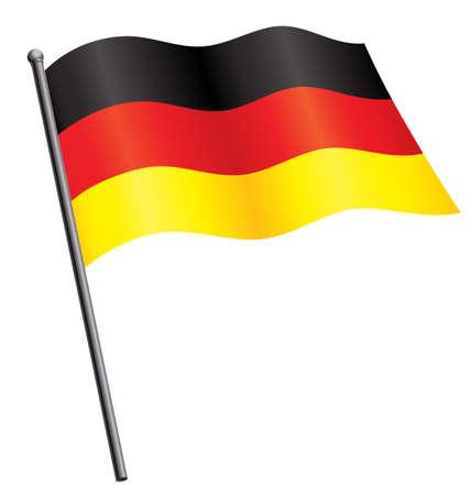 German Deutsche flag of Germany silk waving on flagpole vector Vetores