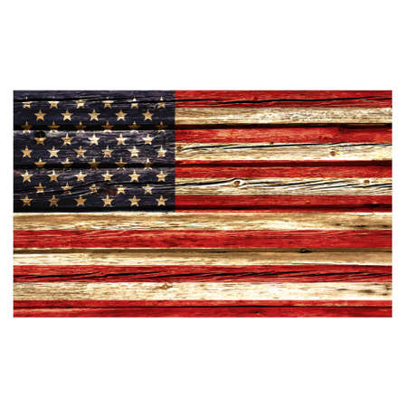 accurate USA flag painted on old rustic timber vector Vector Illustration