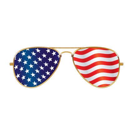 Cool gold rim frames Aviator Sunglasses with USA flag in lenses vector