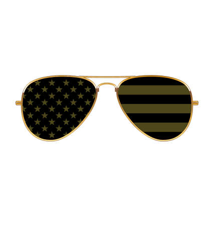 Cool simple Aviator Sunglasses with USA flag in lenses black and military olive drab khaki green with gold frames rims vector