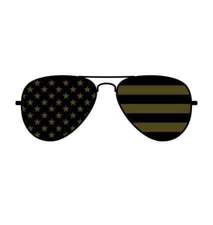 Cool simple Aviator Sunglasses with USA flag in lenses black and military olive drab khaki green vector Vector Illustration