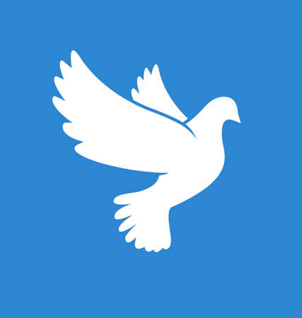 beautiful flying white peace dove pigeon bird outline silhouette on blue background vector Vector Illustratie