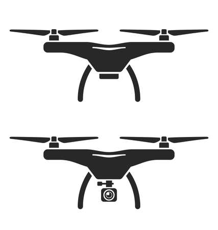 2 simple drone icon silhouette one equipped with camera drones vector