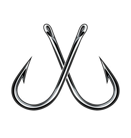 simple crossed fishing fish hooks chrome steel metal silhouette isolated element vector