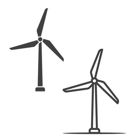 simple wind turbines power generators icon symbol silhouette outline vector Vektoros illusztráció