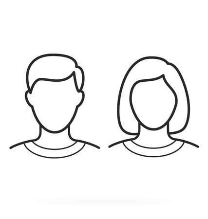 simple human male female man woman head outline line drawing illustration short hair portrait blank isolated elements vector