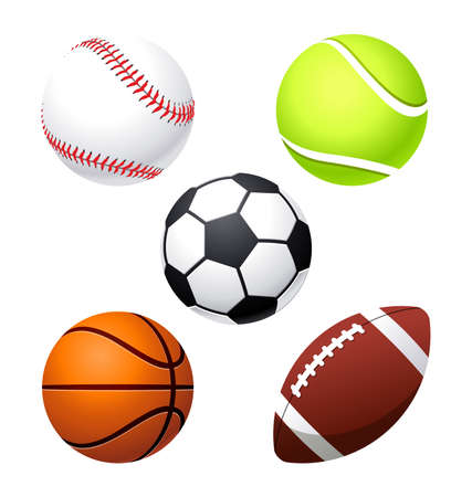 various cartoon stylized american sports balls baseball basketball soccer football gridiron tennis elements isolated on white background vector set Vector Illustratie