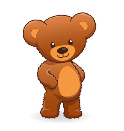 Cute Cuddly fuzzy brown teddy bear standing and smiling Vector Image isolated on white background