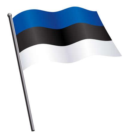 flying waving flowing estonian flag of estonia on flagpole silk isolated on white background vector