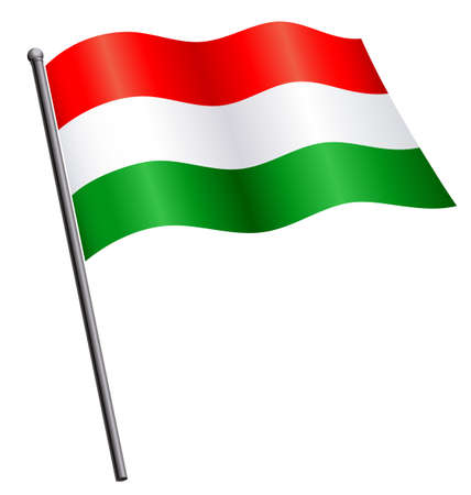 Flying waving flowing Hungarian flag of Hungary on flagpole silk vector isolated on white background