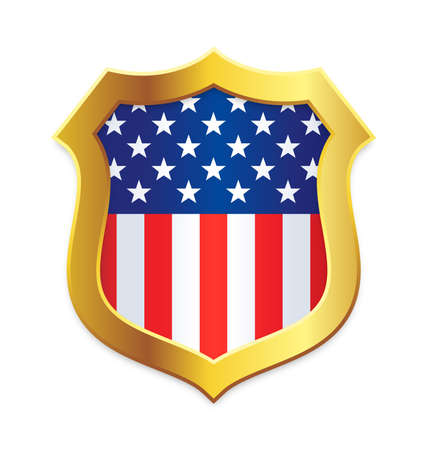 Classic shield shape with gold edge with USA flag vertical