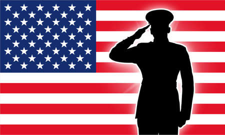 Military police army marine navy air force soldier salute silhouette Vector Illustration