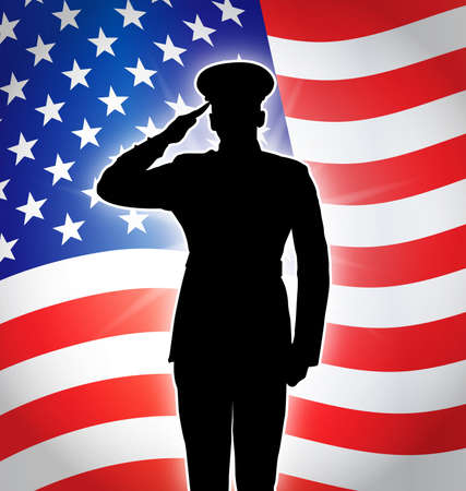 military police army marine navy air force soldier salute silhouette backlit in front of flying USA flag vector