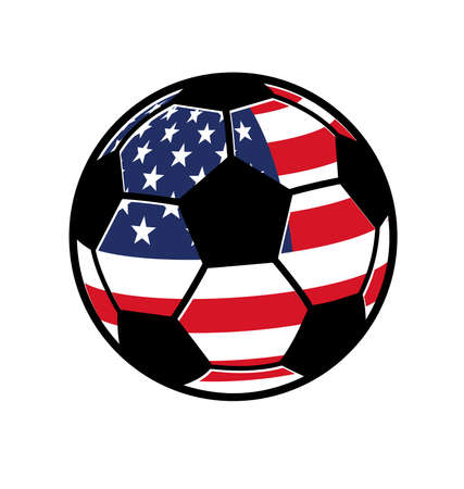 classic soccer ball football black and white with usa american flag simple isolated on white background vector Vector Illustration