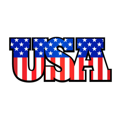 USA flag vertical in USA text isolated on white background vector tshirt graphic design Vector Illustration