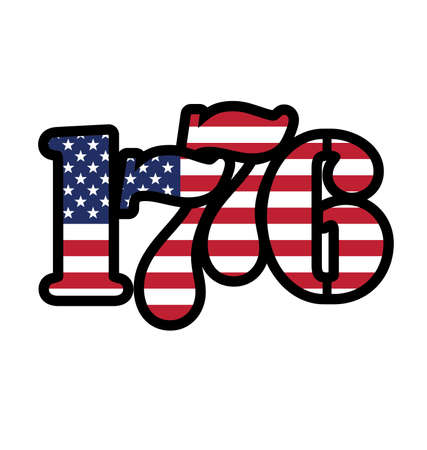 patriotic flying USA united states of America flag in 1776 year number text isolated on white background vector Vector Illustration