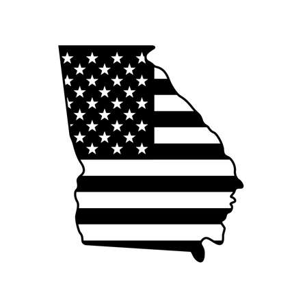 Georgia GA state shape map shape simplified with USA american flag black and white vector isolated on white background Ilustracje wektorowe