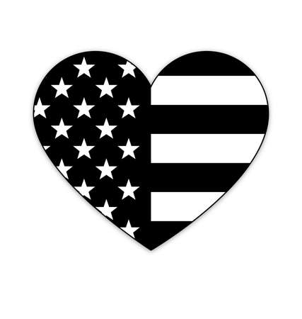 american usa flag in love heart shape icon symbol tshirt graphic isolated on white background vector black and white
