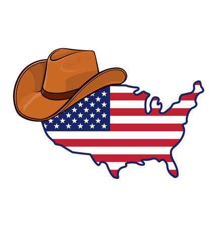 USA America flag in map symbol logo using accurate correct usa flag wearing light brown cowboy hat isolated on white background vector