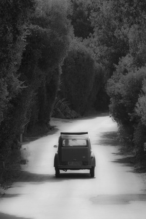 Old Citroen in black and white