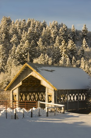 A covered bridge surrounded by winter snow and a pine covered hill