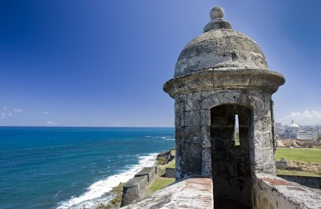 Guard tower overlooking the ocean at Fort San Cristobal, San Juan Puerto Rico