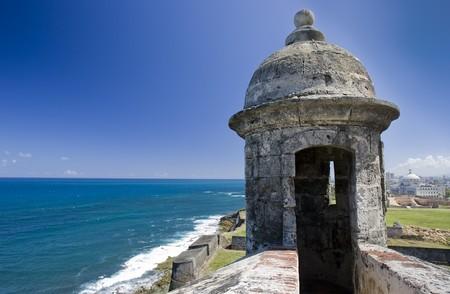 Guard tower overlooking the ocean at Fort San Cristobal, San Juan Puerto Rico