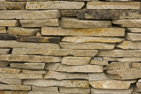 Layers of Blond colored, stacked, flagstones Stock Photo
