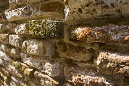 Green brick in a wall with perspective