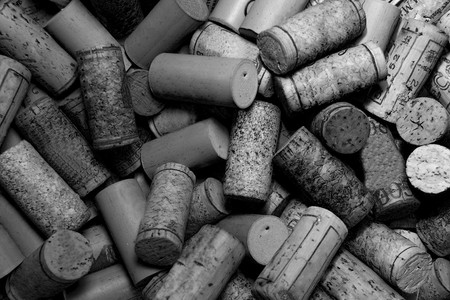 A pile of Wine Corks in Black and White