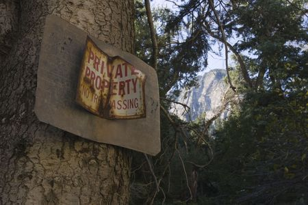 A private property no trespassing sign, on pine tree, with mountain peak in the background.