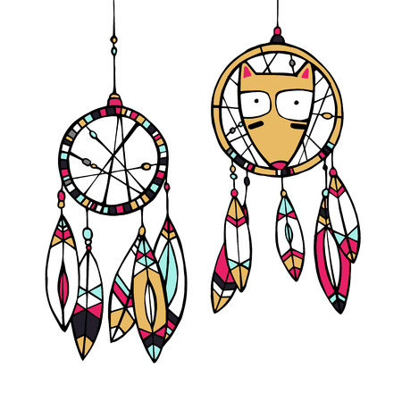 native american baby: Vector Illustration. Funny american indian fox and dream catcher.