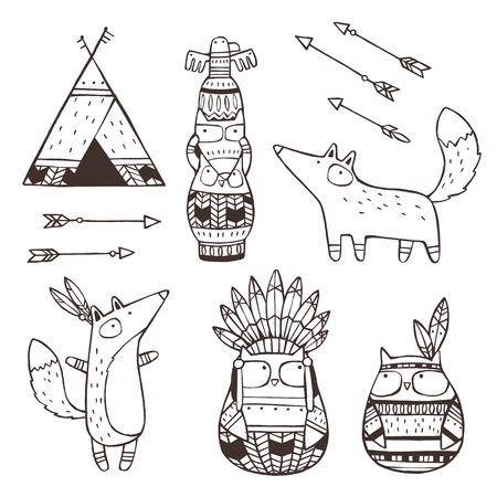 totem indien: Ensemble de vecteur tiré par la main des éléments indiens (animaux drôles, des flèches, des attrape-rêves, totem)