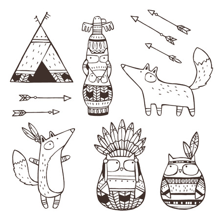 Set of vector hand drawn indian elements (funny animals, arrows, dream-catchers, totem) Illustration