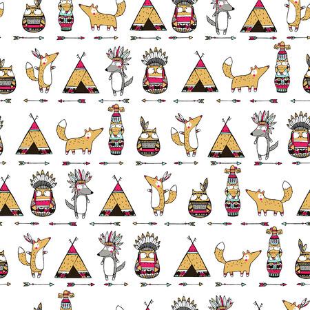 lobo: Patr�n �tnica sin fisuras con divertidos americanos animales indios: zorros, b�hos, lobos. Vectores