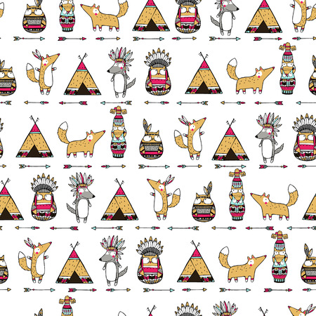 native bird: Seamless ethnic pattern with funny american indian animals: foxes, owls, wolfs. Illustration