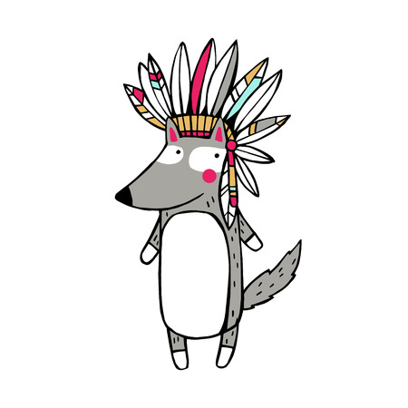 Vector Illustration. Funny american indian wolf.
