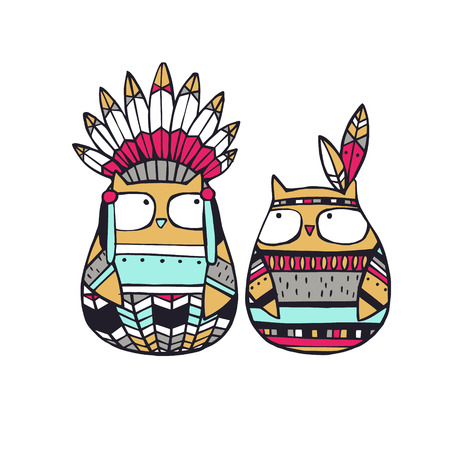native american baby: Vector Illustration. Funny american indian owls. Illustration