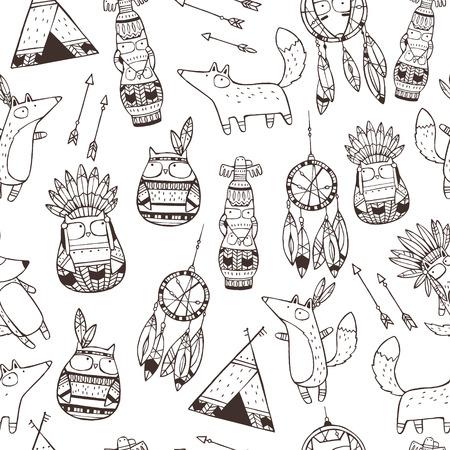 funny animal: Modelo incons�til del vector con los elementos dibujados a mano indios (animales divertidos, flechas, Atrapa sue�os, t�tem)