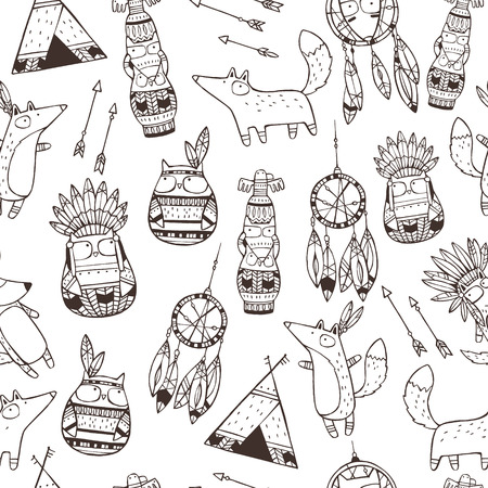 native american baby: Seamless vector pattern with hand drawn indian elements (funny animals, arrows, dream-catchers, totem)
