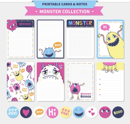 funny monster: Monster collection. Vector printable cards and notes.