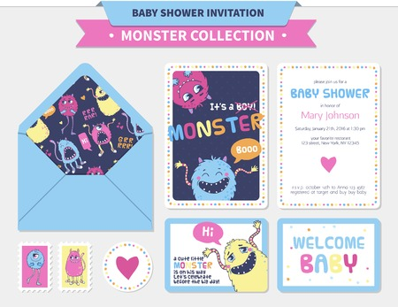 Monster illustration. Vector baby shower set with invitations, cards and  stickers etc.