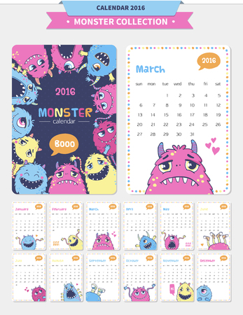 cute monster: Vector calendar 2016 with cute monster illustrations.