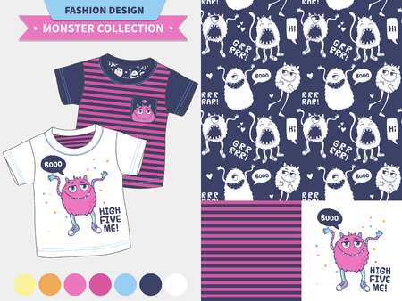kids wear: Monster collection. Vector fashion design set for baby and kids wear, artwork  and semless pattern.
