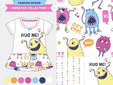 romper: Monster collection. Vector fashion design set for baby and kids wear, artwork  and semless pattern.