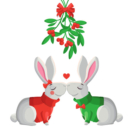 cartoon kiss: Merry Christmas vector illustration. Two funny vector rabbits kissing under mistletoe.